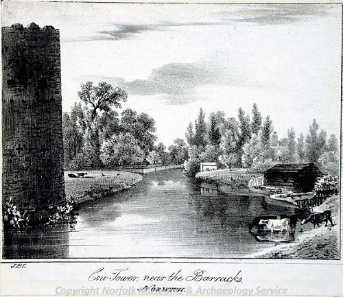 Photograph of a print of the Cow Tower by J.B. Ladbrooke.