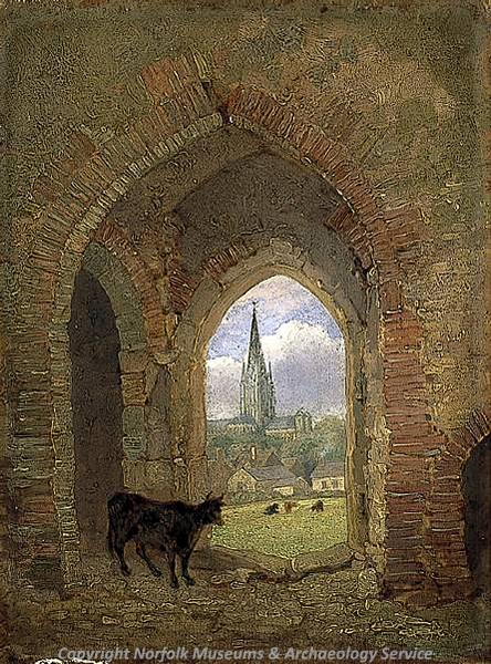 Photograph of a painting of the Cow Tower by H. Ninham, 1840.