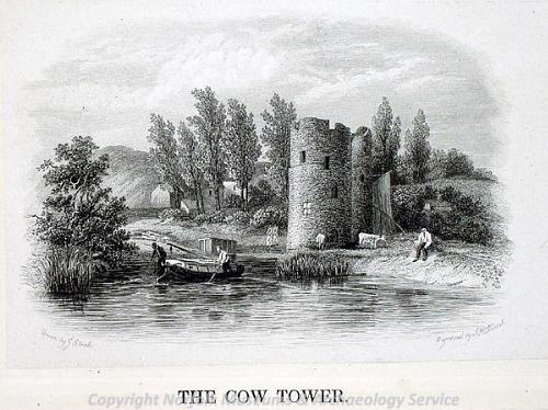 Photograph of a print of the Cow Tower by J. Stark.