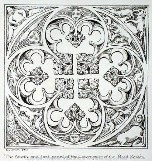Photograph of an 18th century print of a panel of the rood screen in All Saints' Church, Dickleburgh by C.J.W. Winter.