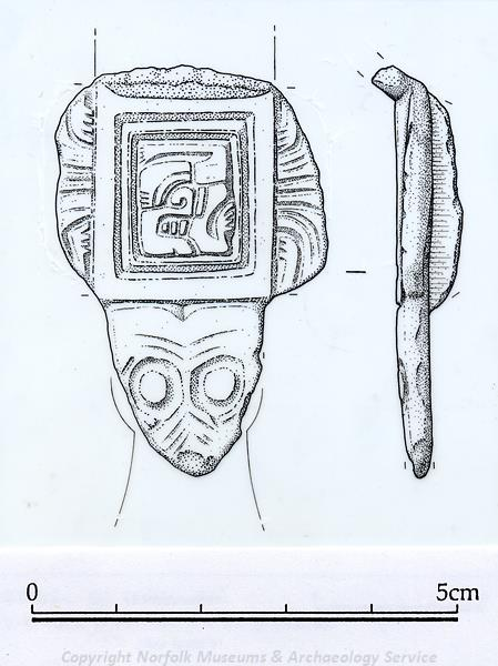 Drawing of an Early Saxon brooch found in Fransham.