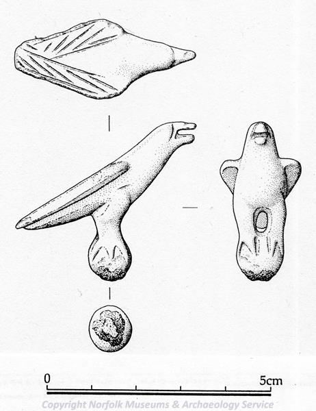 Drawing of a Roman bird figurine from Burgh and Tuttington.