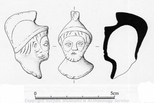 Drawing of a Roman figurine from Carleton Rode.