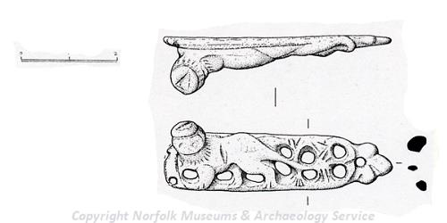 Drawing of a medieval furniture mount from Mautby.