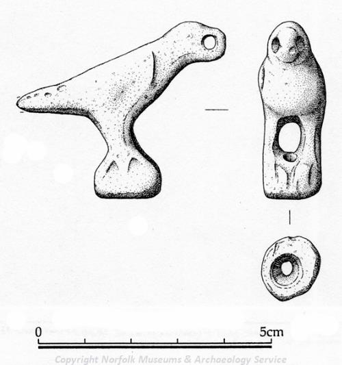 Drawing of a Roman bird figurine from Briningham.