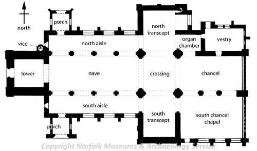 Drawing of a plan of a typical parish church.