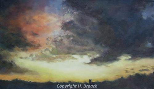 Photograph of one of Helen Breach's paintings of a storm over St James' Church, Castle Acre.