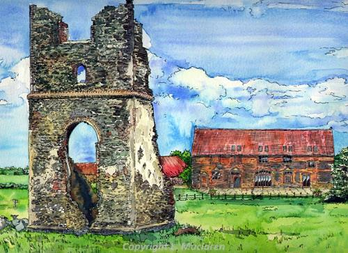 Photograph of a painting of Godwick Great Barn by Louise Maclaren.