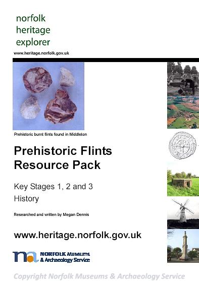 Photograph of the front cover of the Prehistoric Flints Resource Pack.