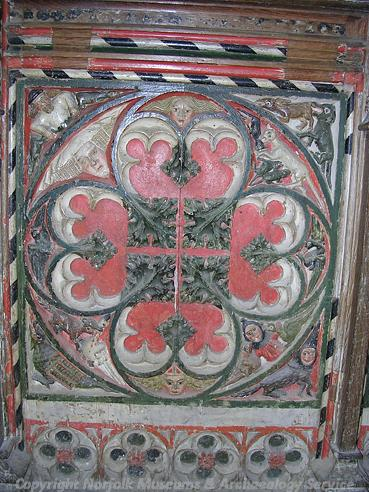 Photograph of the medieval rood screen within All Saints' Church, Dickleburgh.
