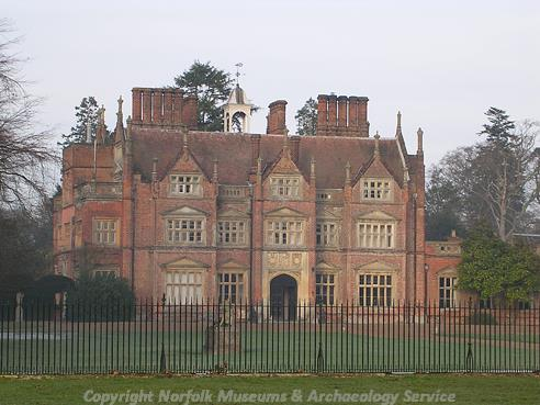 Photograph of Heydon Hall, a fine country house that was built in 1582 for Sir Henry Dynne, one of the auditors of the Exchequer of Elizabeth I.