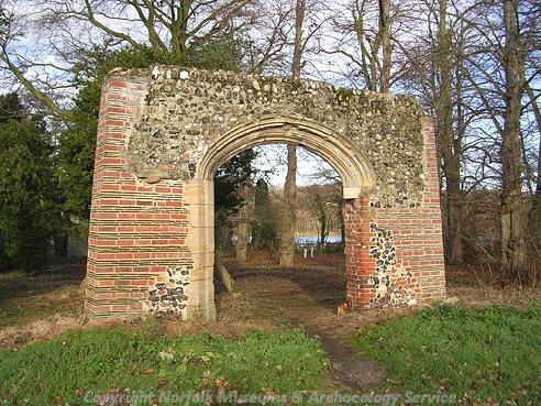 Photograph of the ruins of Trowse Newton Hall.