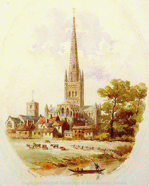 Photograph of 'Norwich Cathedral', a drawing by Francis Philip Barraud.