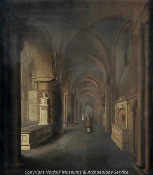 Photograph of 'Norwich Cathedral (south aisle)' a painting by William John Donthorne, around 1816.