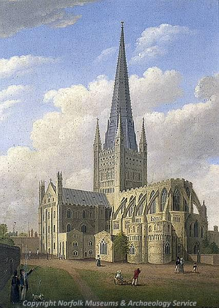 Photograph of 'Norwich Cathedral', a painting by James Sillett, 1832.