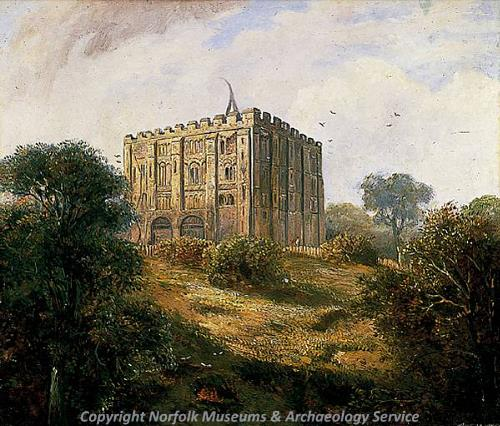 Photograph of 'Norwich Castle 1861', a painting by David Hodgson, 1861.
