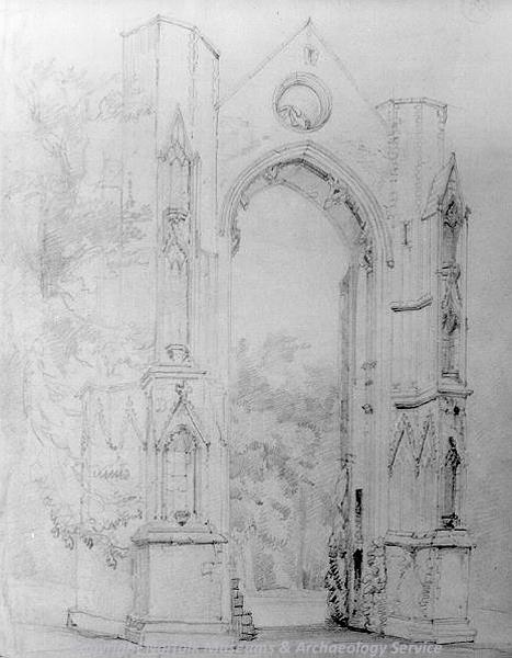 Photograph of 'Walsingham Priory ruins', a drawing by David Hodgson.