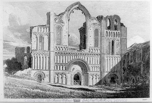 Photograph of 'West Front of Castle Acre Priory', a print by John Sell Cotman, 1818.