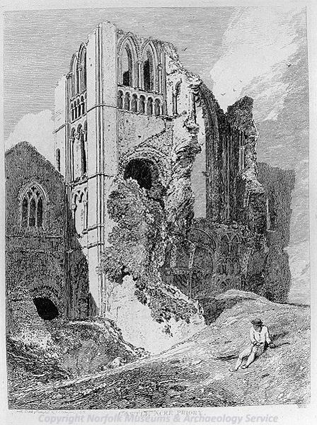 Photograph of 'Castle Acre Priory', a print by John Sell Cotman, 1818.