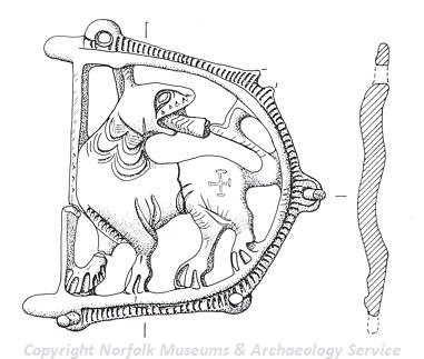 Photograph of a drawing of a medieval belt fitting from Shipdham. The fitting depicts a lion.