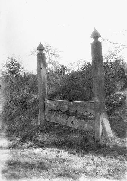 Photograph of Haveringland stocks, a complete set of oak and wrought iron stocks dating to 1804.