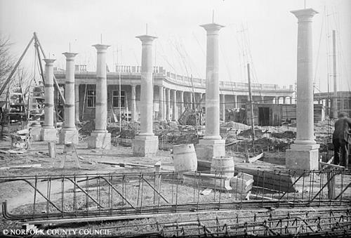 Photograph of the construction of a colonnade in Eaton Park, Norwich. From Picture Norfolk.