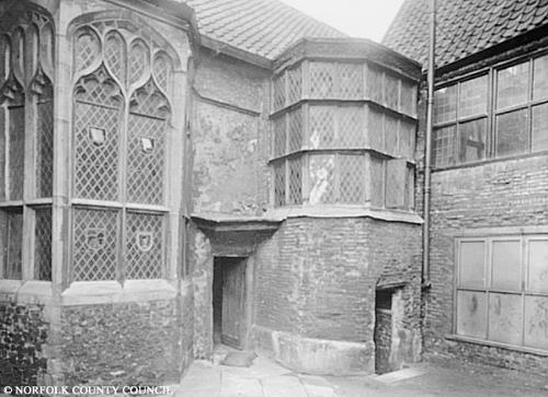 Photograph of an oriel window at Strangers Hall, Norwich. From Picture Norfolk.
