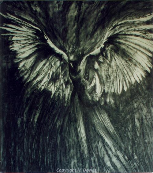 Photograph of a development painting of an angel inspired by bacton Church by Hilary Davies.
