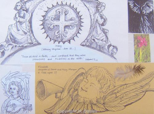 Photograph of a page of Hilary Davies' Pilgrimage Book inspired by Bacton Church.
