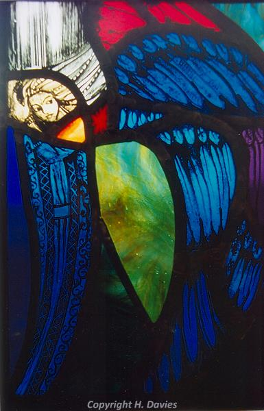 Photograph of painted stained glass by Hilary Davies inspired by Wickmere church.