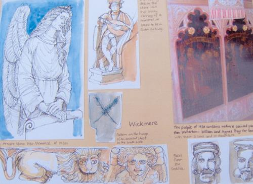 Photograph of a page of a 'Pilgrimage Book' by Hilary Davies inspired by Wickmere Church.