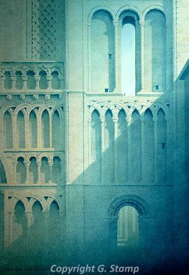 Photograph of Gerard Stamp's painting 'Castle Acre Priory Shadows'.