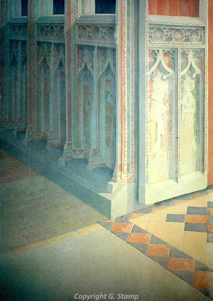 Photograph of Gerard Stamp's painting 'Cawston Screen'.