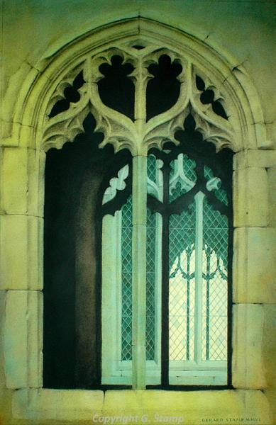 Photograph of Gerard Stamp's painting 'Porch Windows, Salle'.