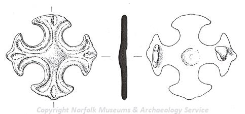 Drawing of a Late Saxon equal armed brooch from Norton Subcourse.