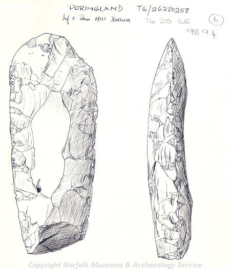 Drawing of part of a Neolithic flint axehead found in Poringland.