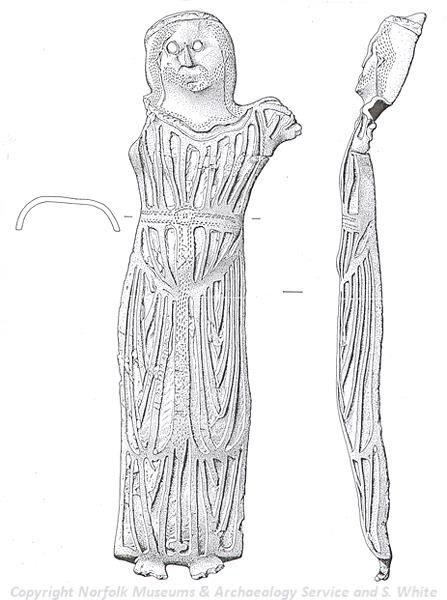 Drawing of a medieval Christ figure from Runcton Holme. The figure was once attached to a crucifix.