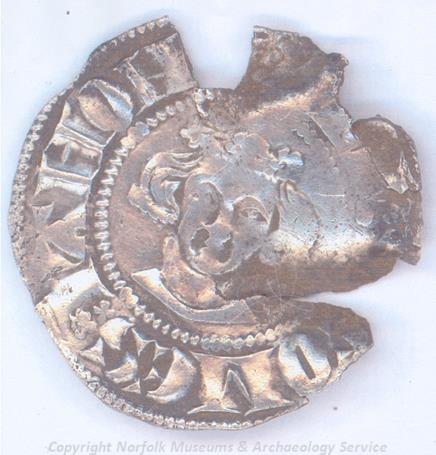 Photograph of a John of Avesnes penny, a sterling imitation, from Runcton Holme.