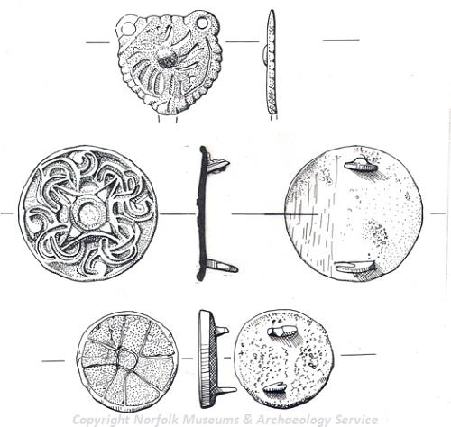 Drawing of Saxon brooches found at Shropham.
