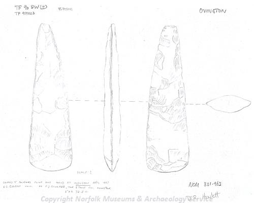 Drawing of a Neolithic flint axehead found at Ovington.