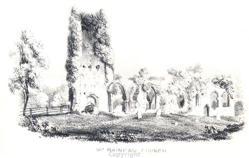 19th drawing of the ruins of St Margaret's Church, West Raynham.