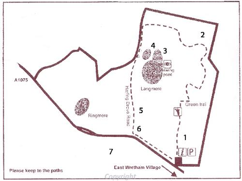 A map of the East Wretham Heath Nature Reserve Heritage Trail.