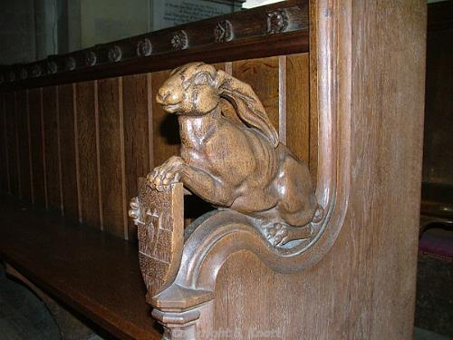 Photograph of a hare-ended choir stall in the Hare Chapel, Holy Trinity Church, Stow Bardolph. Photograph from www.norfolkchurches.co.uk