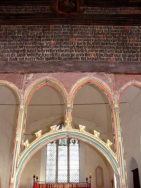 Photograph of the tympanum screen inside St Margaret's Church, Tivetshall St Margaret. Photograph from www.norfolkchurches.co.uk
