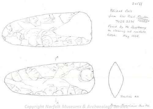 Drawing of a Neolithic polished axehead found near Roydon, near Lynn.