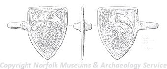 Drawing of a medieval horse harness pendant depicting a pelican found in  Roydon near Lynn.