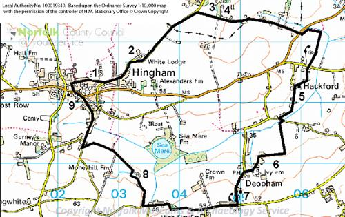 A map of the Hingham, Hackford and Deopham Heritage Trail.
