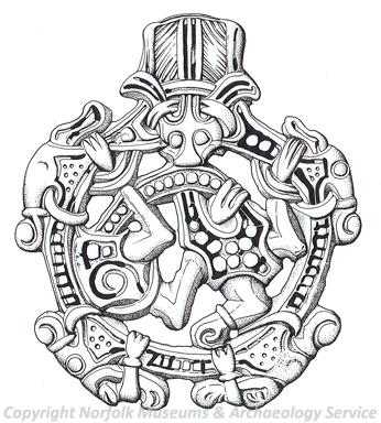 Drawing of a Borre style Viking pendant from Little Snoring.