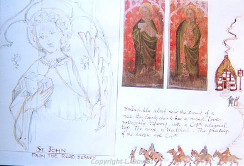 Photograph of Lewis Davies' Edingthorpe Church page from his Pilgrimage Book.