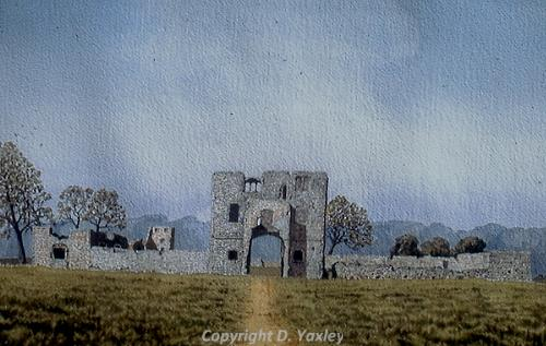 Photograph of David Yaxley's painting 'Baconsthorpe Castle'.